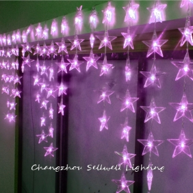 Wholesale NEW!LED holiday bulb door curtain showcase decoration 0.7*4m star LED lamp Pink H281(1)