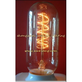 Wholesale GOOD!Yellow feet clear light long tube type Edison bulb lamp 220V 60W E27 T45X110 AD013