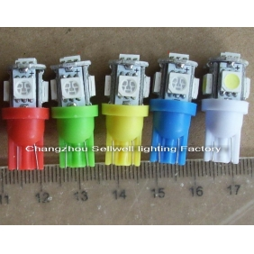 Wholesale GREAT!LED Indicating Lamp WEDGE/W2.1X9.5D T10-5SMD-5050 12V 2.5W Light Color White,Blue,Green,Red,Yellow LED260